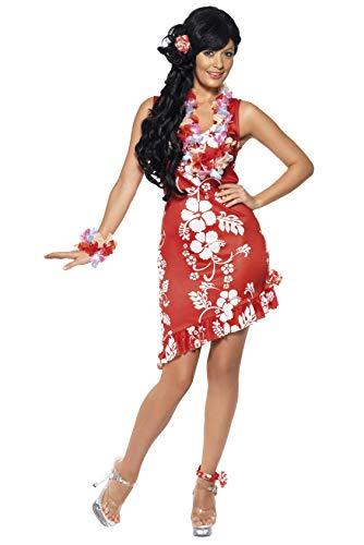 Générique- Smiffys Costume da Donna Hawaiana, Rosso, con Vestito, parrucchino e cavigliera Maglietta, Colore Rosa, M - EU Dimensione 40-42, 33043M