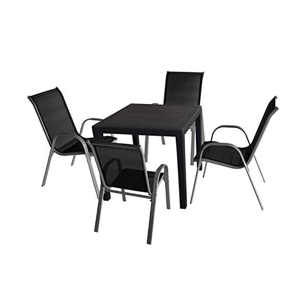5tlg. Gartenmöbel Set Gartentisch in Rattan-Optik 79x79cm Kunststoff + 4x Wohaga® Stapelstuhl mit Textilenbespannung…