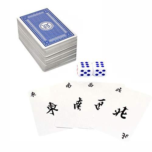 wivarra 144 Piezas /Juego Mah Jong Mahjong De Papel Juego De Naipes Chinos con 2 Piezas Dados Entretenimiento Portátil De Viaje Juego De Naipes Nuevo
