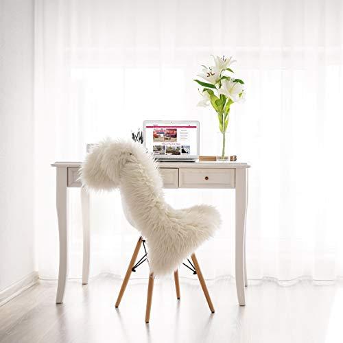 mynes Home Kunstfell Lammfell Schaffell Imitat in Grau, Weiß, Rosa, Rot, Hellgrau und Dunkelgrau in 2 verschiedenen Größen waschbar mit Öko-Tex (55 x 80 cm, Weiß)