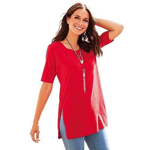 Camiseta Manga Corta largas Aberturas Laterales Mujer by Vencastyle - 013353,Rojo,XL