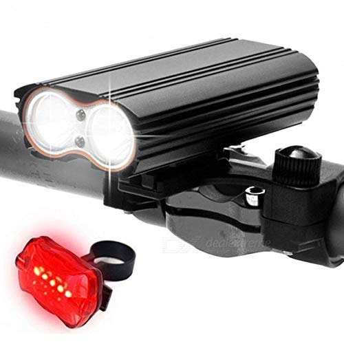 LIGHTTVEN Wiederaufladbare USB-Fahrrad-Licht Straße Fahr Permission 400 Lumen Scheinwerfer und Rückleuchten 100 Lumen LED-Fahrradbeleuchtung IP65 for Nachtfahrten und Outdoor-Sportarten