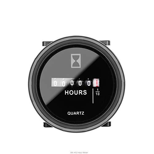 NKTECH Compteur d'heures à quartz rond NK-HS3 à 6 chiffres DC/CA pour bateau, tracteur, générateur, voiture, camion, moto, motoneige (Noir 100–250 V)