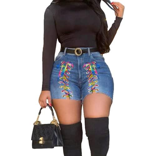 Corumly Pantalones Cortos de Mezclilla para Mujer Pantalones Cortos de Mezclilla Ajustados con cordón de Color de Personalidad a la Moda Pantalones Cortos de Cintura Alta de Moda XL