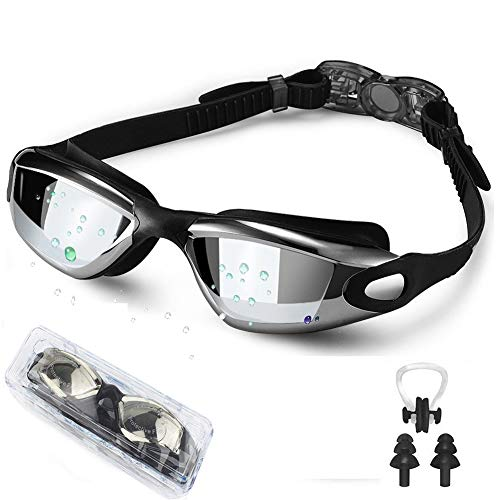 Swim Goggles, Wide View Swimming Goggles No Leaking Anti Fog Swim Goggles UV Protection Triathlon Water Goggles for Adult Men Women Youth, Summer Swim Glasses Set with Nose Clip Ear Plugs