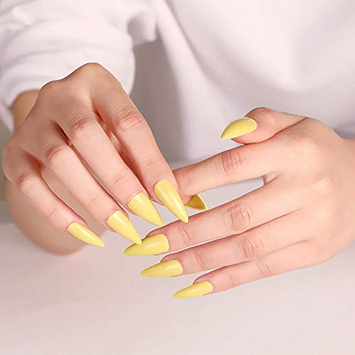 CSCH Faux ongles 24 pcs latest solid color candy long pointed fake nails sexy light lemon yellow J1827