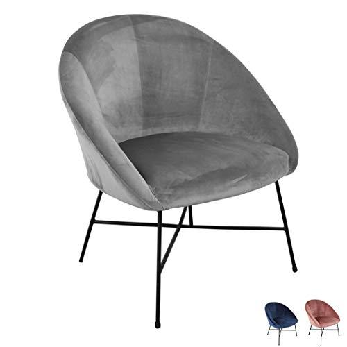 Nimara Samt Sessel | Ohrensessel mit Samt Stoff und Armlehne | Loungesessel mit Comfort und zum relaxen | Qualitätssessel in blau, grau und rosa. | passt gut zum modernen Wohnzimmer (Grau)