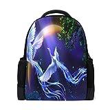 QMIN Mochila Galaxy Fantasy Crane Animal Tree School Bookbag de impresión de un solo lado de viaje de la universidad senderismo camping bolsa de hombro organizador para niños niñas mujeres hombres