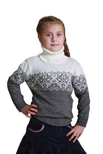 Natural Style Exklusiver Kinder Mädchen Jungen Rollkragenpullover aus Wolle (Merino), Größe 86/92, Farbe Grau-Weiß
