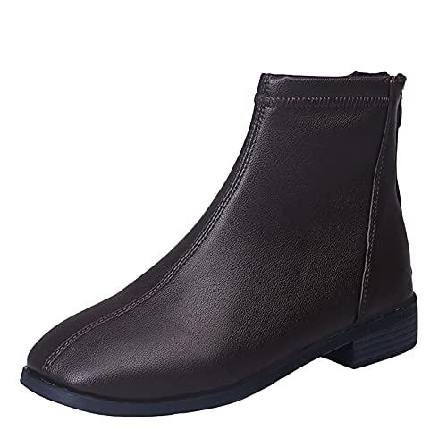 Fullwei Boots for Women Women Round Toe Ankle Booties Ladies Cute Flat Leather Zipper Slip On Casual Boot Walking Dress Shoe (Brown  7.5)