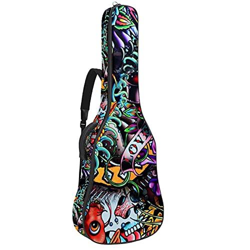 Funda gruesa para guitarra eléctrica con diseño de calavera de azúcar, con...