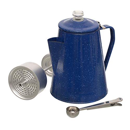 Camping Coffee Percolator - with Enamel Coating Gloss Finish and Glass Cap for Durability and Strength - Camping Coffee Pot Makes 12 Cups - Comes with Basket for Grounds and Stainless Steel Spoon