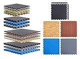 BodenMax Set di 6 tappetini protettivi con bordi 58 x 58 cm, 2,5 cm, per pavimento, fitness, per protezione del pavimento, per sport, palestra, cantina, 25 mm, colore: blu