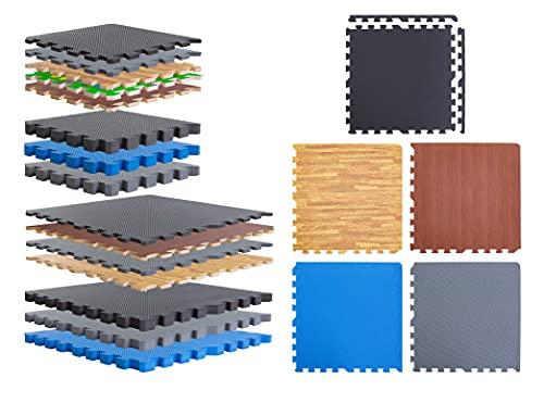 BodenMax Esterilla puzzle de espuma EVA para suelos de gimnasio | Colchoneta de goma para ejercicio yoga tatami gym piscina | Alfombra protectora para cintas de correr | Color Gris | 18 piezas