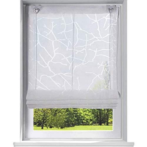 ESLIR Raffrollo mit U-Haken Gardinen Küche Raffgardinen Halbtransparent Ösenrollo Vorhänge Modern Ausbrenner Weiß BxH 100x140cm 1 Stück