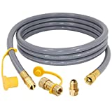12 Feet 1/2 inch ID Natural Gas Grill Hose with Quick Connect Fittings for Low Pressure Appliance - 3/8 Female to 1/2 Male Adapter for Fire Pit, Generator, Patio Heater, Grill - CSA Certified