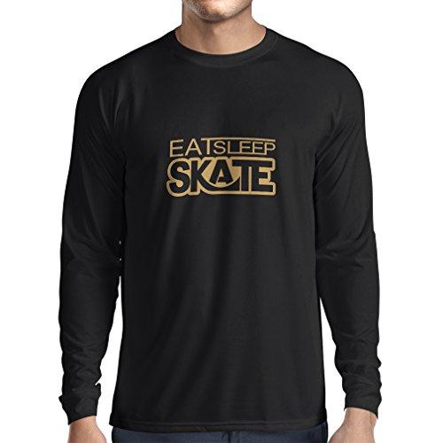 lepni.me Camiseta de Manga Larga para Hombre Coma - sueño - patín - para los Patinadores, skateboardboard, Skateboard Gifts (XXX-Large Negro Oro)