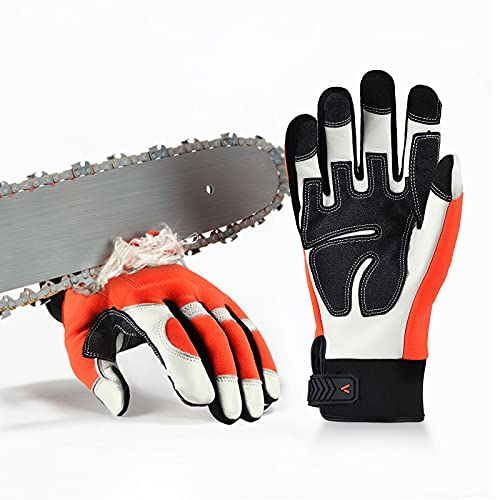 Vgo Chainsaw 12-Layer Saw Protection on Both Hands Cow Leather Gloves (Size L, Orange, CA9760)