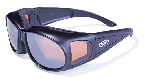 Global Vision Eyewear Outfitter Safety Glasses with Matte Black Frames and Anti-Fog Driving Mirror Lenses