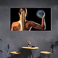 ジム壁ポスターやる気を起こさせる壁アートパネルワークアウトポスターホームジム装飾セクシー女性ポスターインスピレーションポスターフィットネスポスターキャンバスアートパネル40x70cm /フレームなしU189