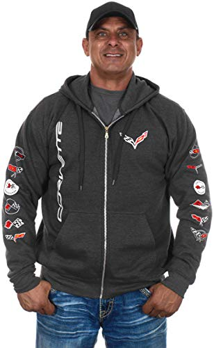 JH DESIGN GROUP Men's Chevy Corvette C 7 Collage Charcoal Gray Full Zip Up Hoodie (Medium, CLG7-charcoal Gray)