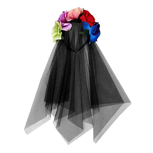 Velo de novia negro, tocado para Halloween, forma de flor, cinta para...