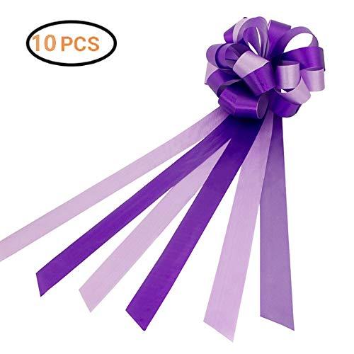 Nuluxi Lazos de Boda Coche con Cinta Lazos de Regalo para Montar de Boda Lazos Regalos Grandes para Coche Boda para Arreglos Florales Cestas Coches de Boda Decoraciones de Fiesta-10 Piezas (Púrpura)