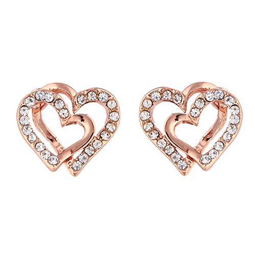 Shuda Heart Rhinestone Earrings Stainless Steel Stud Earrings for Woman Girl Jewellery Accessories Set Wedding Events Party