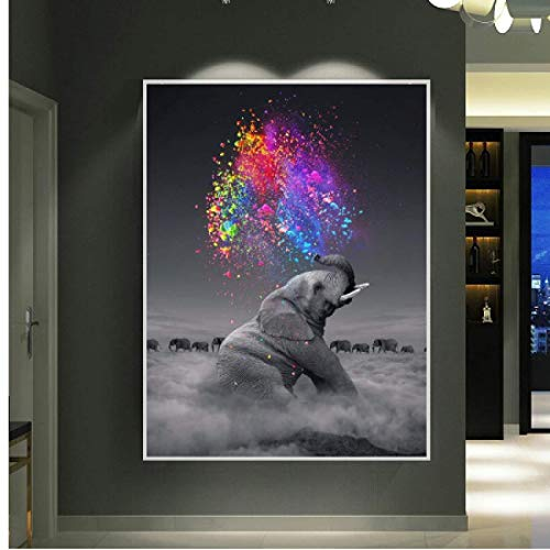 Impresión de lienzo 50x70cm sin marco bebé elefante soplando arcoíris arte abstracto imágenes artísticas de pared para decoración de sala de estar