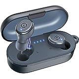 TOZO T10 Auriculares Bluetooth IPX8 Impermeable Bluetooth 5.0 Auriculares In Ear con estuche de carga y micrófono Integrado, Sonido Premium con Graves Profundos para Correr y Hacer Deporte Azul