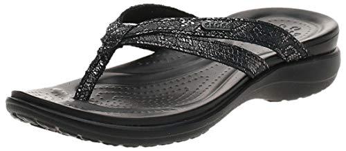 Crocs Damen Capri Strappy Flip W Dusch- & Badeschuhe, Schwarz (Black/Black 060b), 37/38 EU