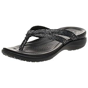 Crocs Capri Strappy Flip Flops   Sandals for Women, Metallic Black, 9