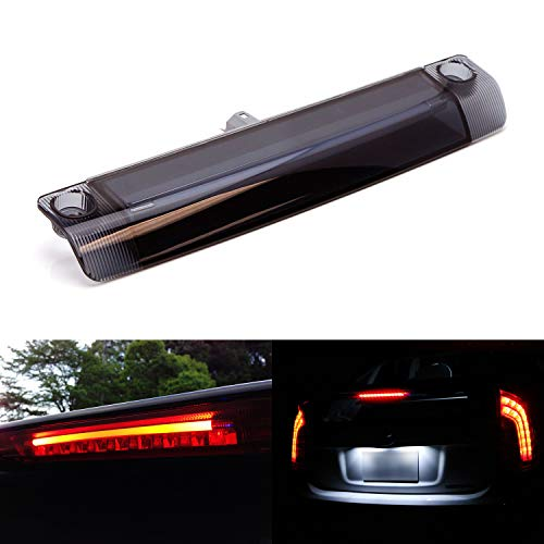 iJDMTOY Smoked Dark Lens 9-LED 3rd Brake Light Assy Compatible with Toyota 4Runner Highlander Prius Sienna etc, Rear Center Roof High Mount LED Third Brake w/Strobe Braking Feature