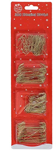 CONCEPT4U 150 Metal Tree Hooks GOLD Wire Christmas Ornament Baubles Hanging Hangers Beads Decoration