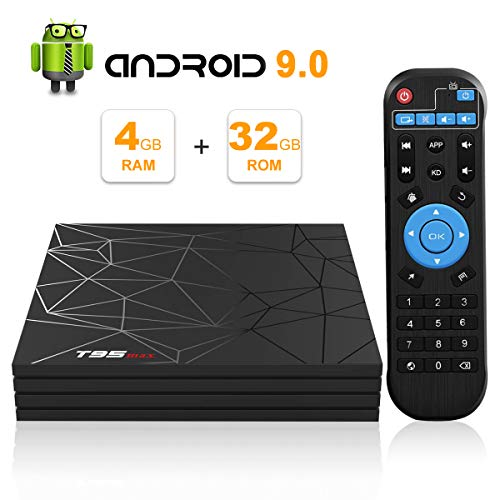 Android TV Box, Android 9.0 TV Box 4 GB RAM 32 GB ROM H6 Quad-Core Cortex-A53 unterstützt 3D 6 K Ultra HD H.265 2,4 GHz WiFi Ethernet HDMI Smart TV Box