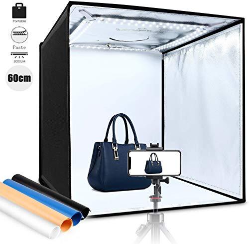 amzdeal Caja de Luz Fotografía 60x60x60cm Portátil Plegable LED 5000LM 5500K, 4 × Fondo Azul/Blanco/Negro/Naranja, Fácil de Instalar