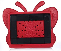 Red Butterfly Style Kids Thick Foam EVA Handle Kickstand Cover Case for iPad 2 3 4