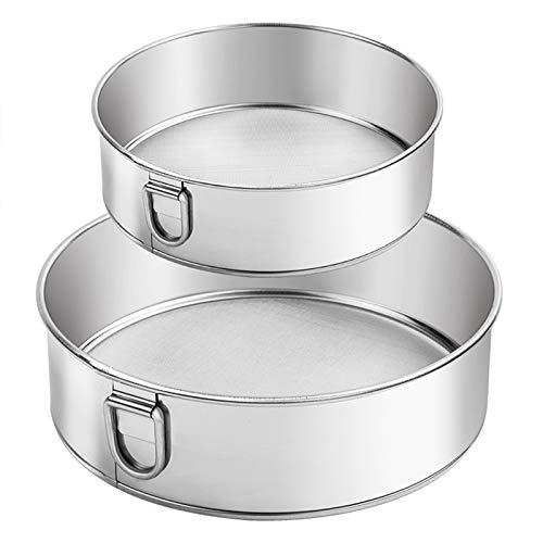Webake Sieve 6-Inch, 8-Inch Sieves Fine Mesh Strainer Set of 2 Stainless Steel Sifter Round Flour Sieve for Baking Straining Powdering