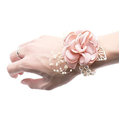 Pulsera de perlas para boda, diseño de flores y flores artificiales decorativas (color: rosa)