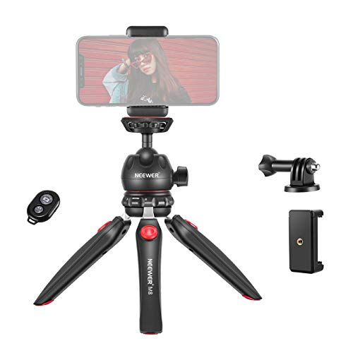 Neewer M8 Portable Tabletop Mini Tripod Mount with 360 Degree Rotatable Ball-Head, Adapter and Phone Clip Compatible with iPhone/Android Samsung Huawei/DSLR Camera/Webcam/Projector/GoPro Action Camera