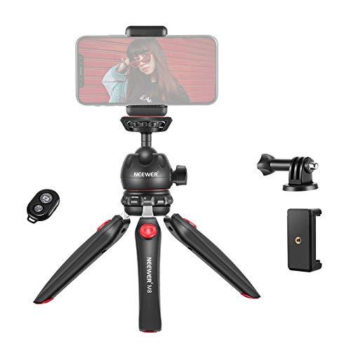 Neewer M8 Tisch Mini Stativhalterung mit um 360 Grad drehbarem Kugelkopf Adapter und Handyklammer kompatibel mit iPhone/Android Samsung Huawei/DSLR Kamera/Webcam/Projektor/GoPro Action Kamera