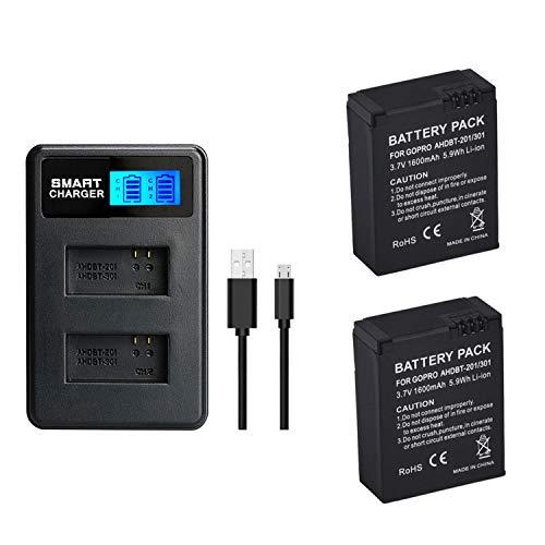 2 Piezas 1600mAh para GoPro AHDBT-201/301 batería de la cámara con Cargador de batería Dual para Gopro Hero 3 3+ AHDBT-301, batería AHDBT-201 (2 pcs Battery with Charger)