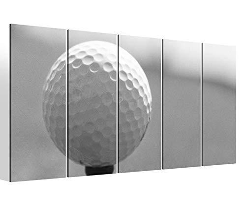 Leinwandbilder 5 teilig XXL 200x100cm schwarz weiß Golfball Golf Kat8 Abschlag Sport Druck auf Leinwand Bild 9BM2255