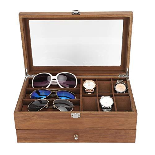 YUYTE Uhrenbox, Uhrenbox, Doppelschicht Retro Brille Uhr Aufbewahrungsbox Vitrine Schmuck Organizer Verpackung, Organizer & Vitrine Schmucketui