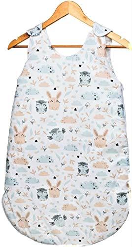 bababy Sacco Nanna Neonato Invernale, Sacco Nanna per Bambini, TOG 2,5, 100% Cotone Made in EU, Sacco a Pelo Neonato Morbido e Caldo (Bianco Animali)
