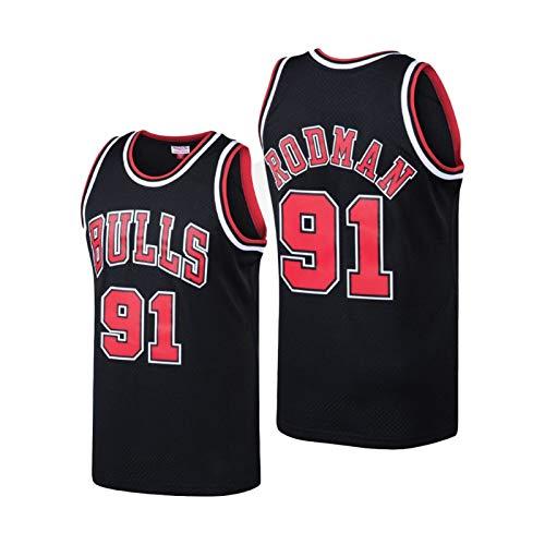 QJL Jerseys de Baloncesto de Rodman para Hombres, Bulls Rodman Classics Swingman Jersey-Bordado Versión Bordada (S-XXL) XL