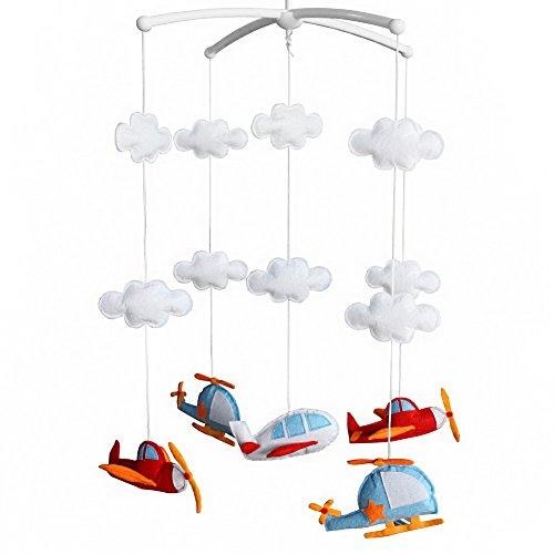 Panda Legends Azul Rojo helicóptero avión Hecho a Mano Infantil bebé Cuna Musical móvil niños niñas vivero decoración