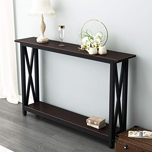 sogesfurniture Vintage Wooden Console Table Entryway Table with Shelf Storage and Solid Metal Frame, Stable Side Table for Hallway, Living Room, Bedroom, 120x24x74CM, Dunkel Brown BHEU-DX-125-BR