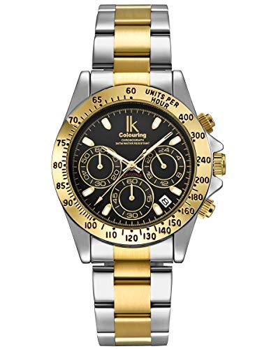 Alienwork Reloj Hombre Mujer Plateado Pulsera de Metal Acero Oro Calendario Fecha Negro Multi-función Elegante Clásico