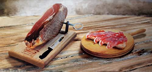Hermanos - Juego de cortar jamón (tabla de madera con soporte de...